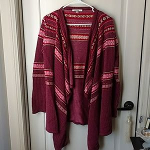 Maroon Pink open waterfall Cardigan Small
